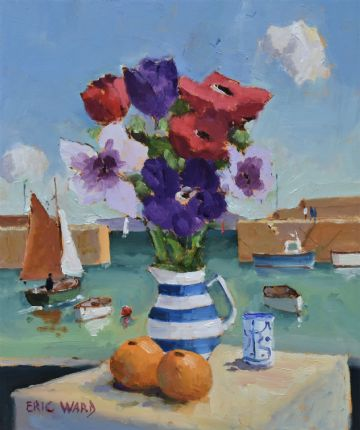 Eric Ward Original Oil Painting Anemones Flowers Still Life Mousehole Cornwall
